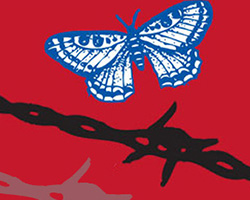 Butterfly and barbed wire on a red background.